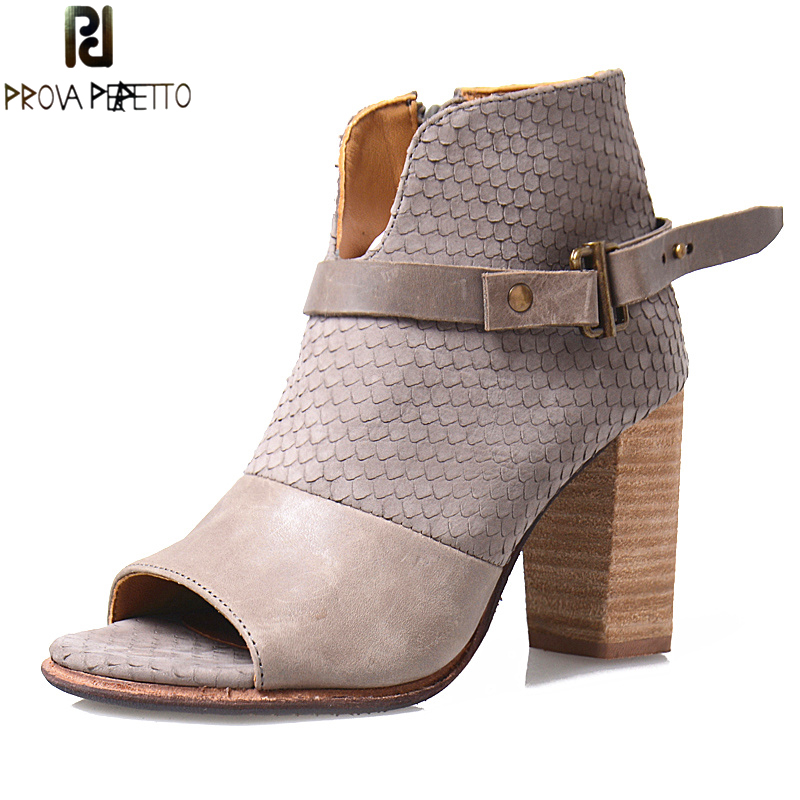 Prova Perfetto New Design Stingray Skin Single Boots Women European Peep Toe High Heels Boot Belt Buckle Side Zip Ankle Shoes