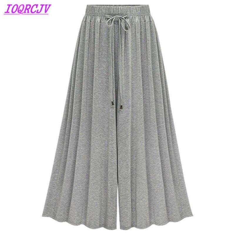 Wide leg pants for women 2018 summer High waist pants Plus size M-6XL thin casual pants female Loose Elastic Waist IOQRCJV H359