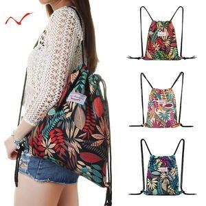 Backpack Gym-Bag Sports-Bags Drawstring Surfing Leaf-Pattern Travel Fitness-Training