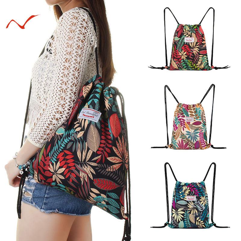 Outdoor Drawstring Backpack Leaf Pattern Sports Bags Women Men Fitness Training Gym Bag Travel Swimming Surfing Backpack