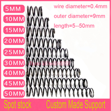 50pcs 0.4*9*5/10/15/20/25/30/35/40/45/50mm series small spot spring 0.4mm wire compression pressure springs length=5--50mm