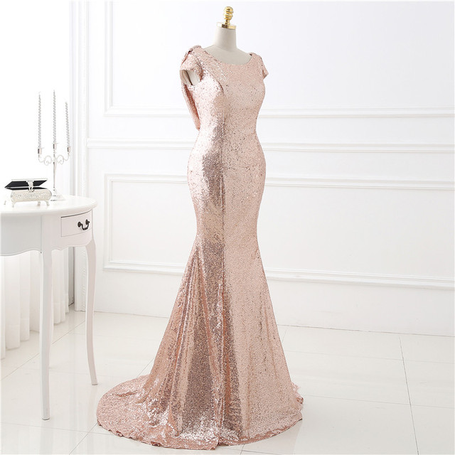 Mermaid Blush Pink Sequins Bridesmaid Dresses Short Sleeves Rose ...