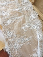 32CM width wedding veils gowns lace trim and border 2019 NEW arrival 3 Meters One piece Off white eyelash chantilly lace tissue