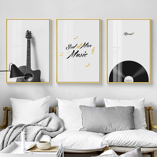 Modern Record Black and White Instrument Canvas Painting
