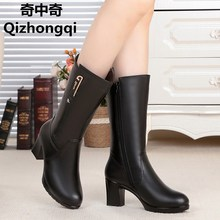 2017 Winter boots new natural genuine leather boots 100% high heels thick warm wool lined women's motorcycle boots fashion