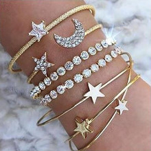 Europe and the United States simple female personality bracelets stars moon open bracelet 4 pieces each set of