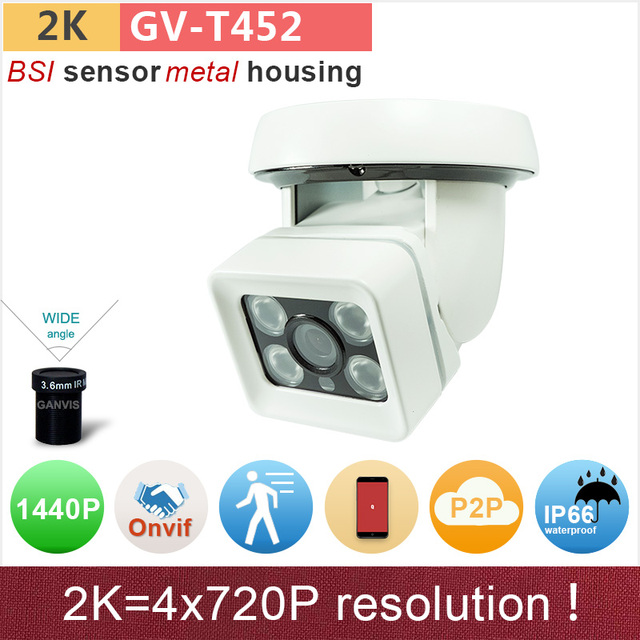 Outdoor/indoor dual use H.265 2K ip camera 4mp dome/bullet full HD 1440P/1080P surveillance cctv camera ONVIF P2P GANVIS GV-T452