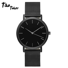 цены на Tike Toker Fashion Women Crystal Stainless Steel Analog Quartz Wrist Watch Bracelet  в интернет-магазинах