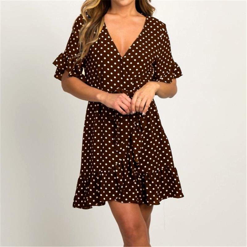 Summer Chiffon Dress 2019 Boho Style Beach Dress Fashion Short Sleeve V-neck Polka Dot A-line Party Dress Sundress Vestidos 5