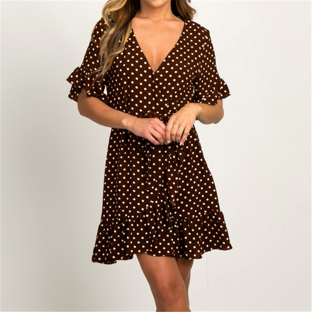 Boho Style Beach Dress Fashion Short Sleeve V-neck Polka Dot A-line Party Dress