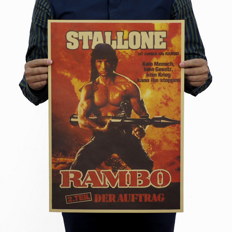 Free Shipping,first Blood Part 2/Rambo Classic Movie/kraft Paper/bar Poster/Retro Poster/decorative Painting 51x35.5cm