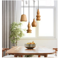 Solid wooden bar cafe restaurant lights modern pendant lamp southeast Asian gourd minimalist creative log dining room light MZ59