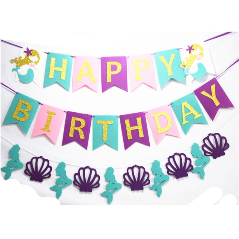 3 PCS Mermaid Under The Sea Happy Birthday Banner For Birthday Party Decorations