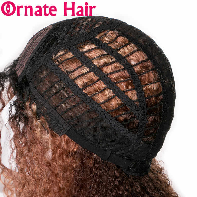 Colored Ombre Blonde Brazilian Lace Front Human Hair Wigs for Black  Women Afro Kinky Curly U Part Wig Ornate Remy Wigs