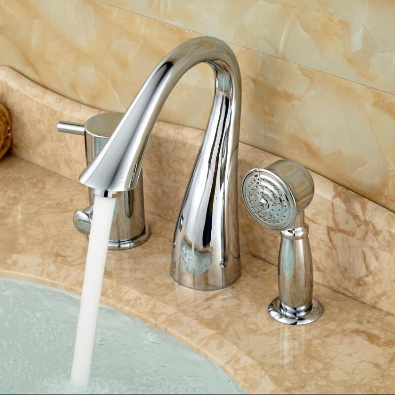 Chrome Polished Single Handle 3pcs Bathtub Faucet with Handshower Tub Mixer Tap niko 50pcs chrome single coil pickup screws