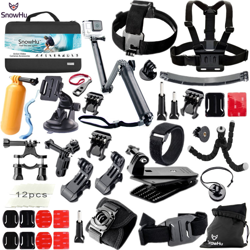 SnowHu For Gopro Hero Accessories Set Mount Strap Monopod For Go pro hero 6 5 5S 4 3+3 for EKEN H9 for xiaomi for yi for 4k GS42 16in1 gopro accessories set helmet harness chest belt head mount strap monopod for go pro hero 5 4 3 2 1 xiaomi yi action camera