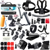 SnowHu For Gopro Hero Accessories Set Mount Strap Monopod For Go pro hero 7 6 5 5S 4 for EKEN H9 for xiaomi for yi for 4k GS42