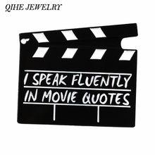 Joyería QIHE Clapperboard pines película Clapper Junta escena de película junta broches regalo de prendedores para amante de la película de cine