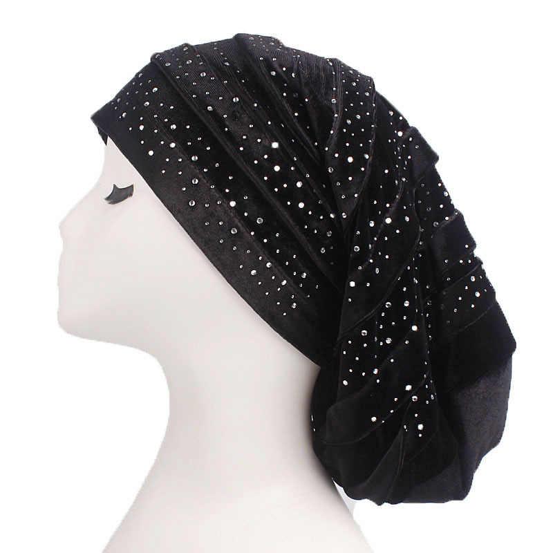 Yeni Diamante Kadife Fırfır Türban Dreadlock Şapka Kadın Müslüman kadın Hicap Kadın Şapkalar Caps Saç Dökülmesi başörtüsü Şal
