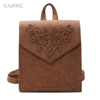 Fashionable Female Shoes Leather Backpack Female Floral Bag Female Softback Character Stamping Backpacks Mochilas Mujer School