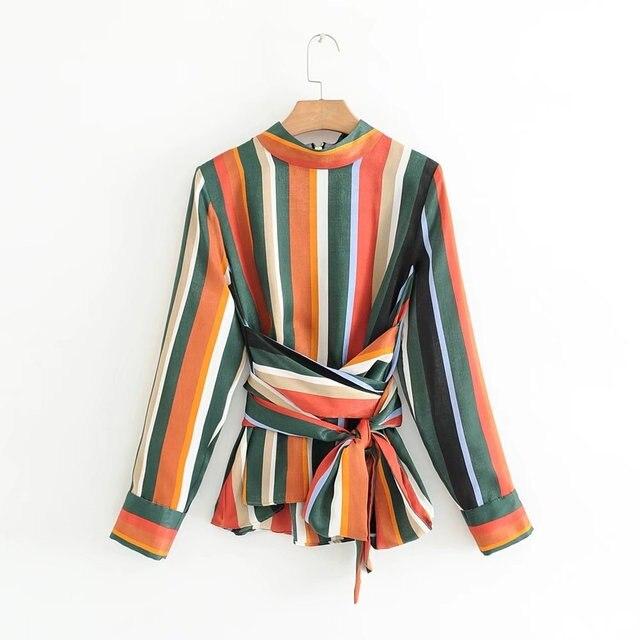 08b6e08674 Mulheres Camisa Listrada Colorida com Cinto Arco escritório Blusa Manga  Comprida Gola Alta Top Tie Cintura