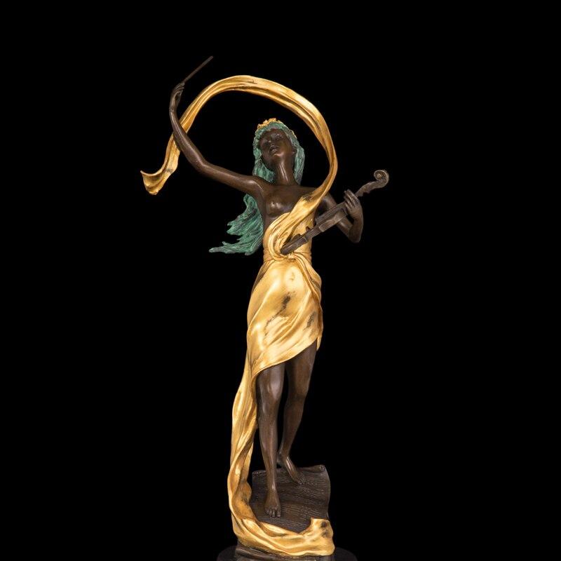 ATLIE BRONZES Pur à la main arts occidentaux Classique violoniste sculpture bronze figurines art artisanat
