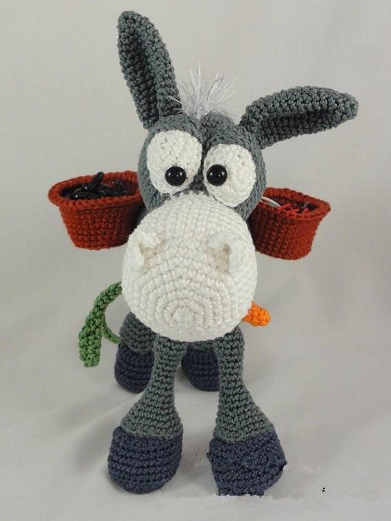 Amigurumi Crochet Dusty the Donkey doll toy rattle amigurumi crochet doll pretty girl xingxing rattle toy
