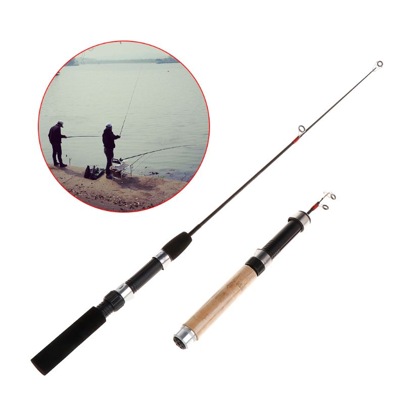 Diligent Fishing Rod Short Folding Stretch Pole Ice Fishing Rods Eva Handle 62/65cm Portable Winter Outdoor Tackle Professional Accessori Fishing