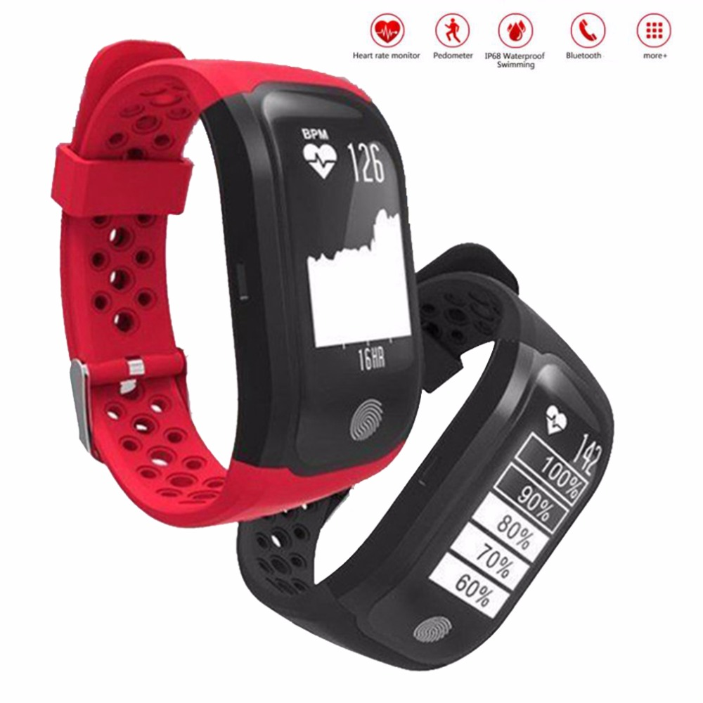 S908 Smart Bracelet IP68 Waterproof Heart Rate Monitor Fitness Tracker Message Call Reminder GPS Sports Smart Wristband As Gift
