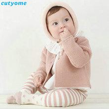 Novorozenec Baby Cardigan pro chlapce Dívky Jarní podzim Dětské pletené oblečení Svetry Oblečení Teplá batole Boy Bavlna Cardigan Oděvy