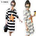 V-TREE Girl T-shirt Long T Shirt Girl Striped Girls Dress Pattern School Hoody Shirts Teenager Girls Pullover Shirt