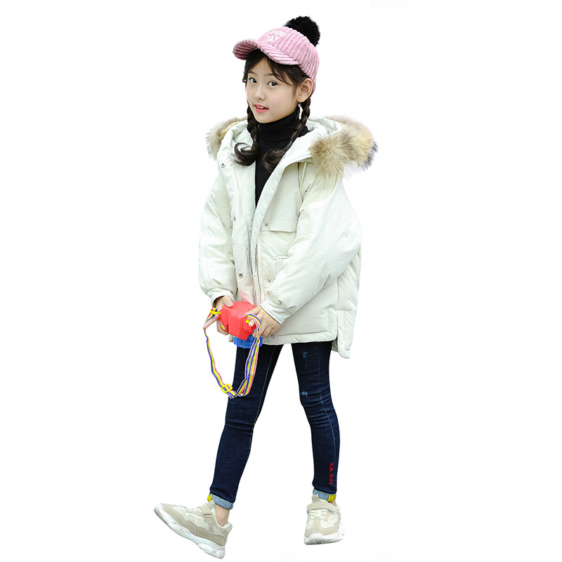 цена на Girls clothing warm Down jacket for girl clothes Winter Thicken Parka real Fur Hooded Children Outerwear Coats -30 degrees 30#