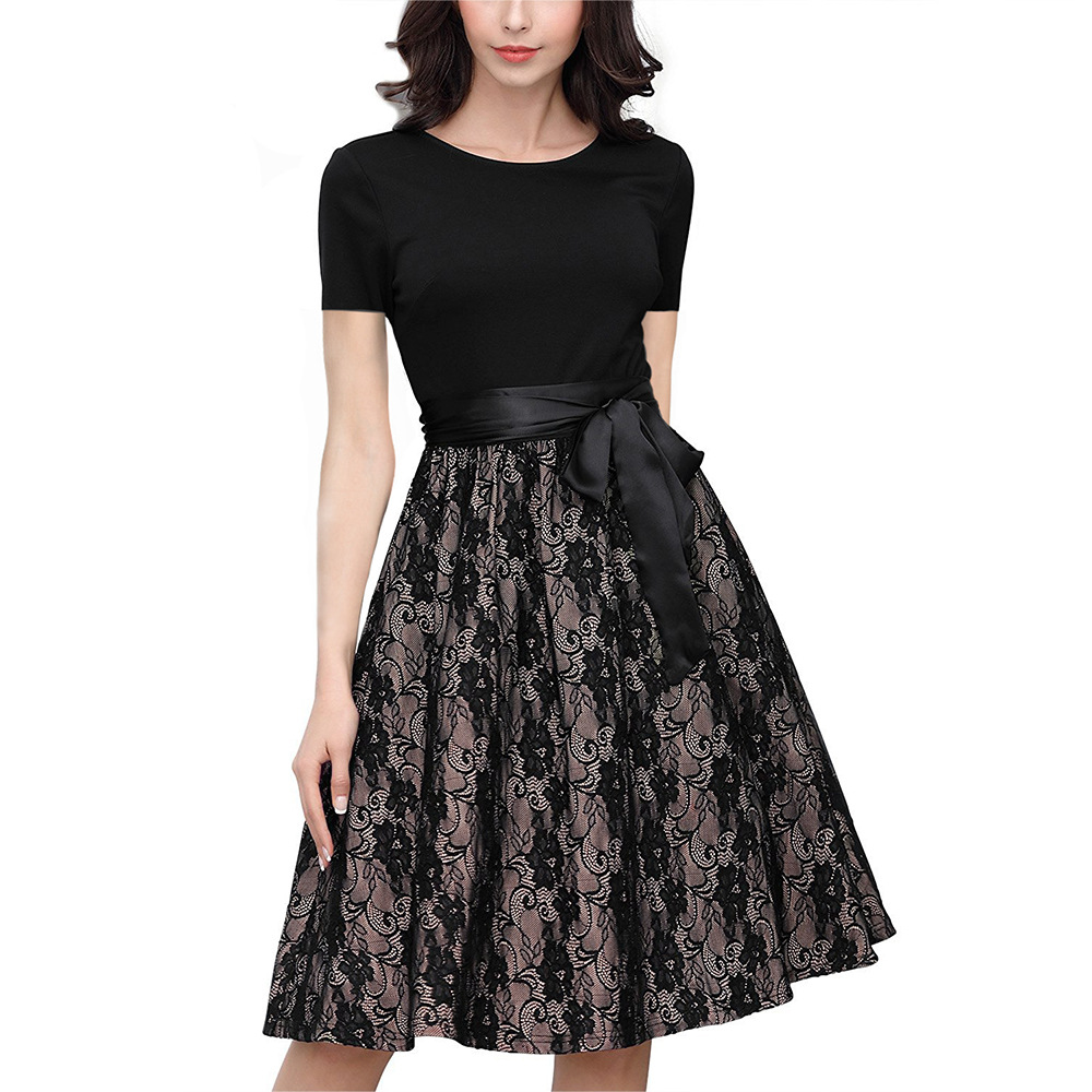 New Summer Women Dress Short Sleeve O-Neck Bow Belt Lace Elegant Office Ladies Midi Dresses Bodycon Swing Skirt Black Vesidos
