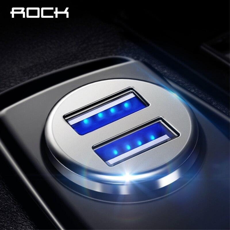 ROCK 5 V 4.8A cargador Dual del coche del USB carga rápida Mini Metal Car-cargador carga 2 puerto 24 W para iPhone 7 6X8 Samsung Xiaomi
