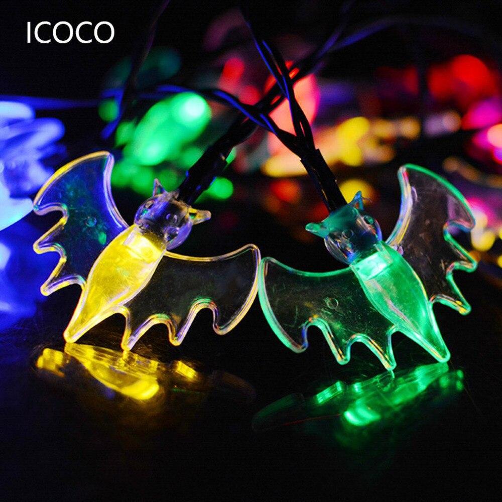 Солнечный 30leds Bat Форма Строка свет Хеллоуин украшения красочные голубой/теплый белый/красочные/чистый белый DIY вечерние питания