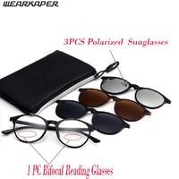 WEARKAPER 1pcs Bifocal Reading Glasses 3pair Magnetic Polarized Sunglasses Myopia Hyperopia Night Vision Reading Sun Glasses