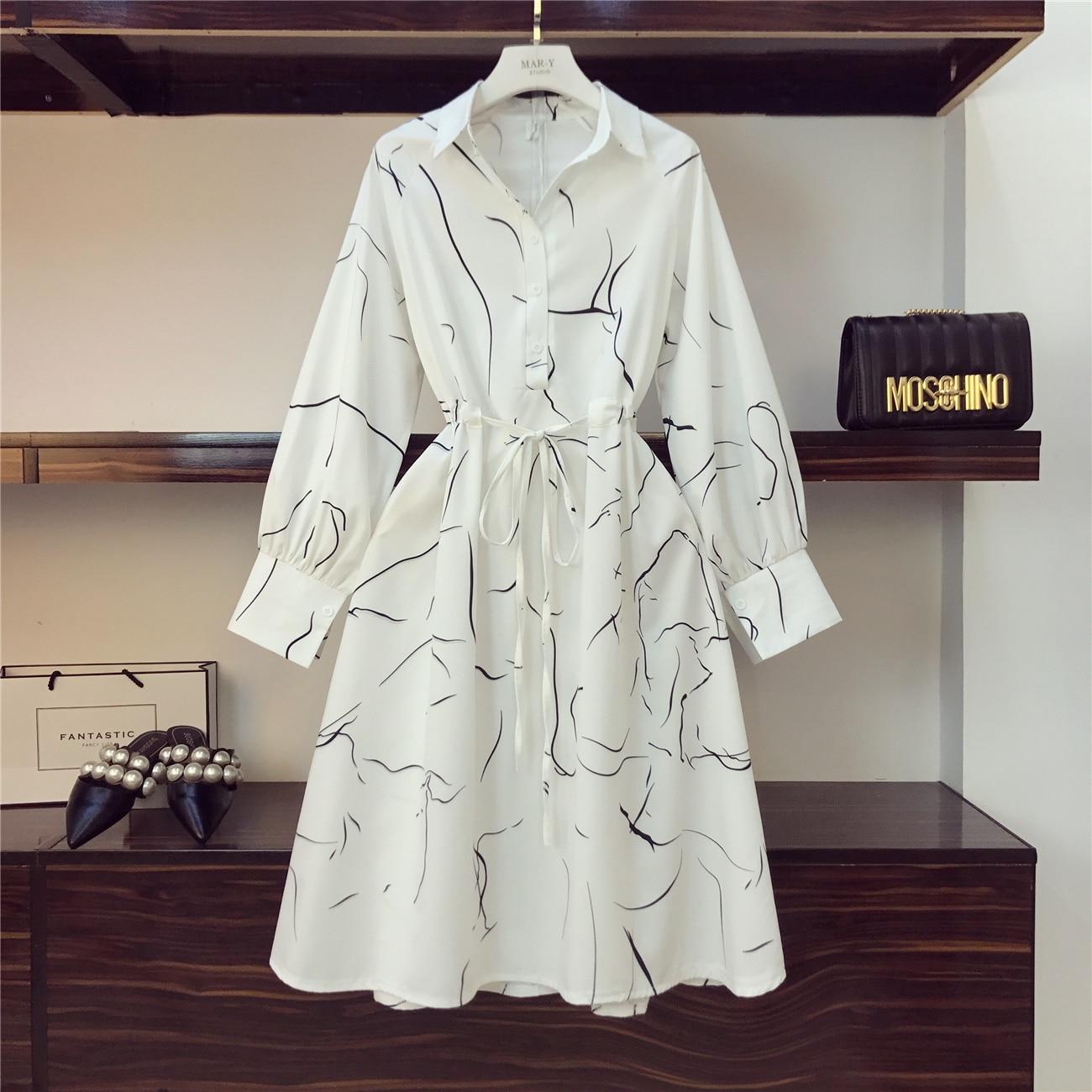 2019 Spring Summer New Fashion Immortal Retro Shirt Dress Womens Printed Mid Long Dress Girls Holiday Bohemian Dresses Femme Women's Clothing