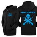 2017 Inverno Quente Grosso Zipper Skate Punk Do Punk Jaquetas Casacos de Hip Hop de Rock Iron Maiden Banda Mens Hoodies E Camisolas