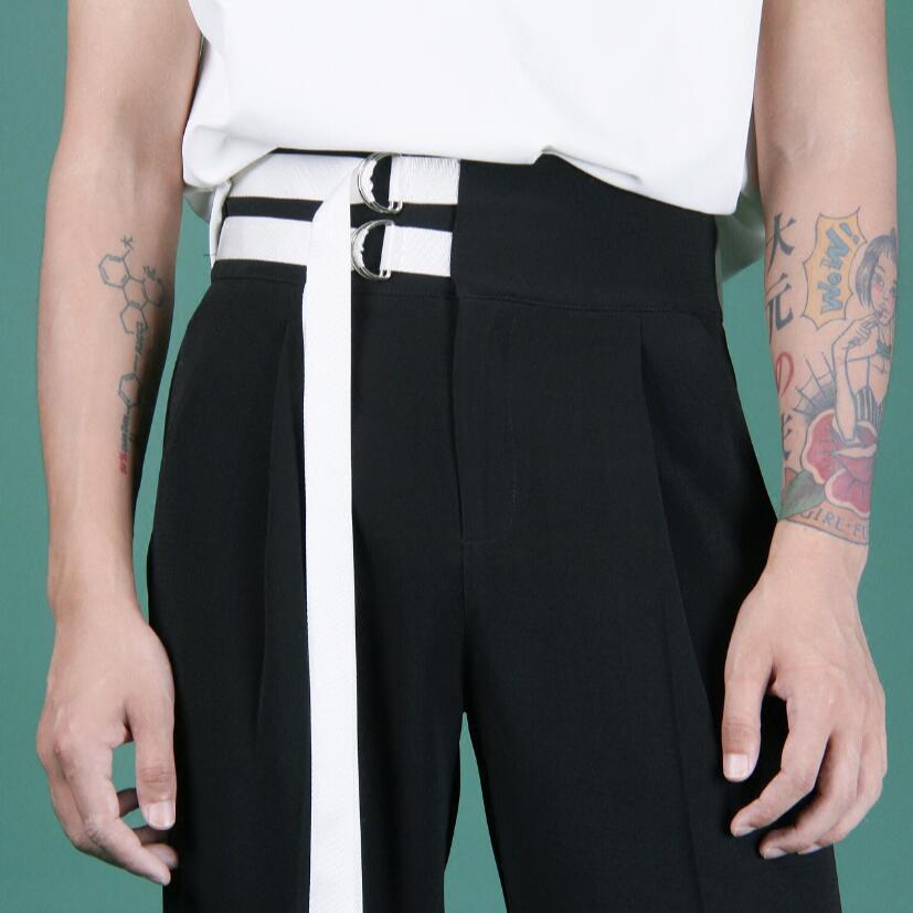 Estilista Hombres Ornamento Rectos Tamaño Pasarela 2017 Más 44 Negro Pantalones Nuevo Trajes Hebilla 27 Ropa Moda Ocasional Gd CqUYgtxw