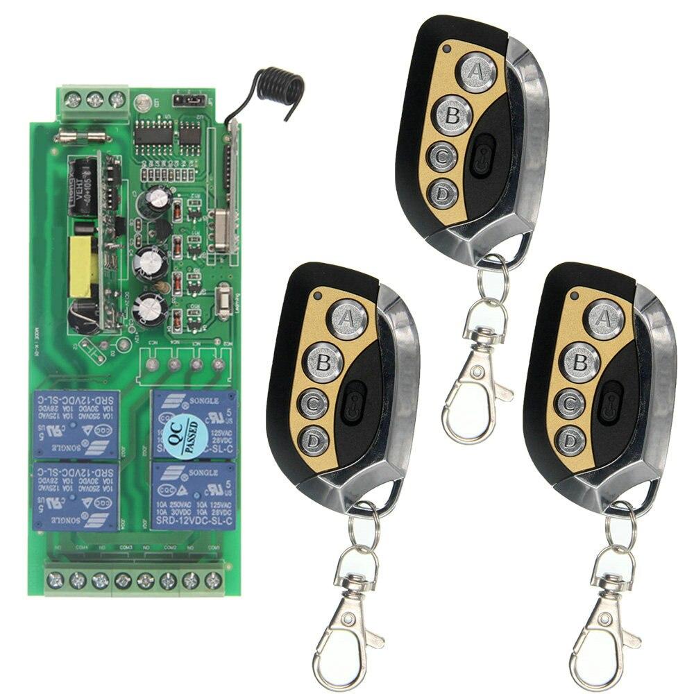 Maison intelligente AC85V ~ 265 v 110 v 220 v 230 v 4CH 4 CH Télécommande Sans Fil Commutateur Relais sortie Radio Module Récepteur et Transmetteur