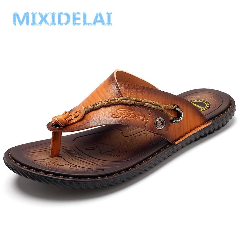 MIXIDELAI Men Sandals Summer Shoes Men Beach Sandals Brand Men Casual Shoes Flip Flops Leather Sneakers Men Slippers Size38-46