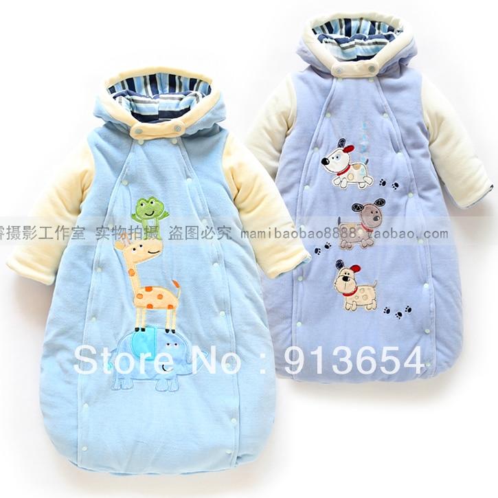 2013 autumn winter baby sleeping bag clothing child hooded thermal velvet boy warm cotton sleepsacks - Sunny Baby fashion Store store