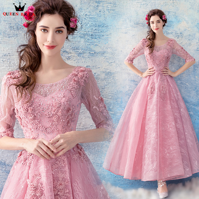 QUEEN BRIDAL   Evening     Dresses   2018 New Tea Length Half Sleeve Pink Lace Beading Pearls Short Prom-  dresses   Robe De Soiree ZX12