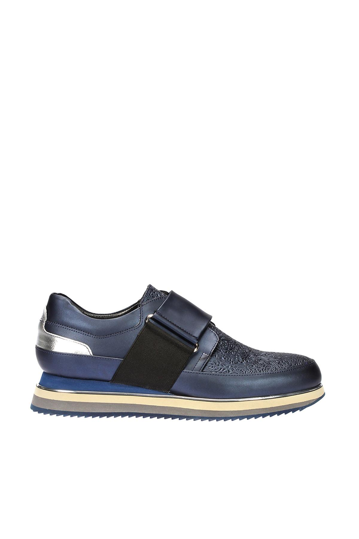 Pearl Genuine Leather Navy Blue Men 'S Sneaker 120130003812()