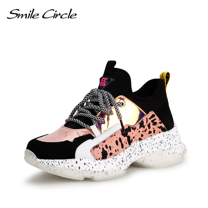Smile Circle Sneakers Women Flat Shoes 2019 spring Genuine Leather Breathable knitting Casual Ladies Platform Lightweight