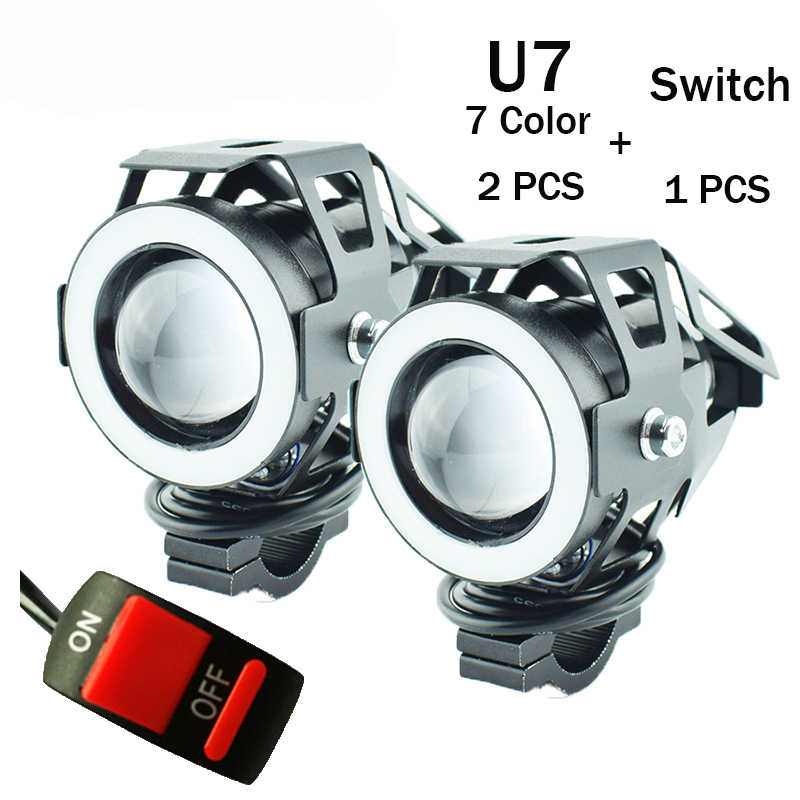 Motorcycle headlights 12V 125W spotlights Motorbike fog lights Work spot Lights LED motor 7Color 3000lmx 6000k auxiliary lamp