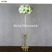 100CM/40'' Height New Wedding Road Lead With Acrylic Crystal Silver Golden Europe Wedding Event Party Decoration Deco Mariage