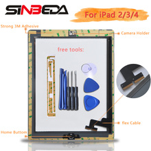 Sinbeda AAA+ Touch Screen For iPad 2 A1396 iPad 3 iPad 4 Tactil Touch Screen For iPad 2 3 4 Screen With Home Button A1395 A1403