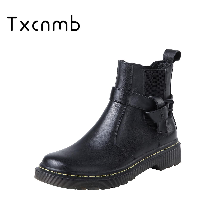 TXCNMB 2019 New Fashion Punk motorcar boots Square Heels Women Ankle Boots Genuine Leather Elegant Chelsea Boots Shoes Woman