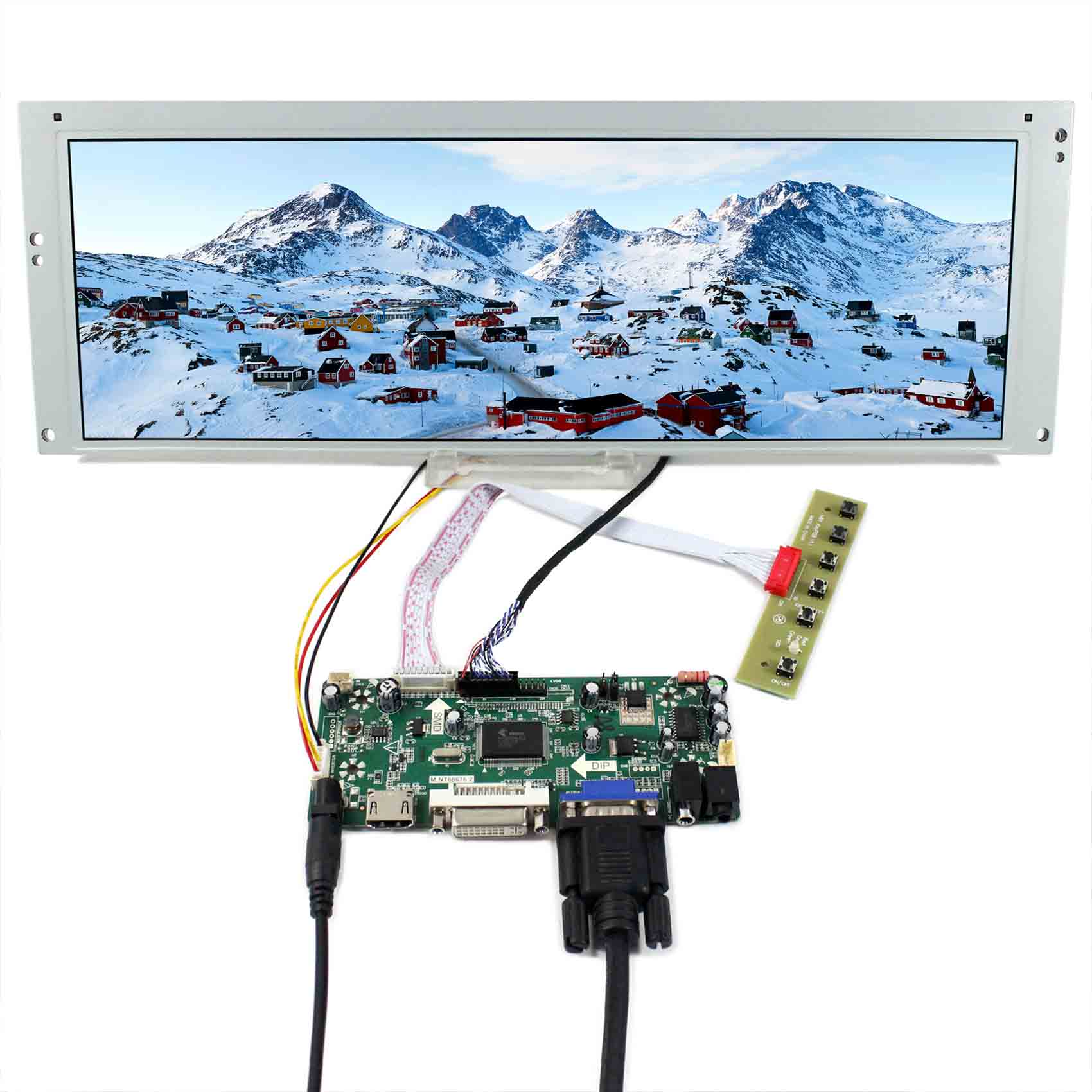 HDMI VGA DVI LCD controller board with 14 9inch 1280x390 LTA149B780F LCD screen